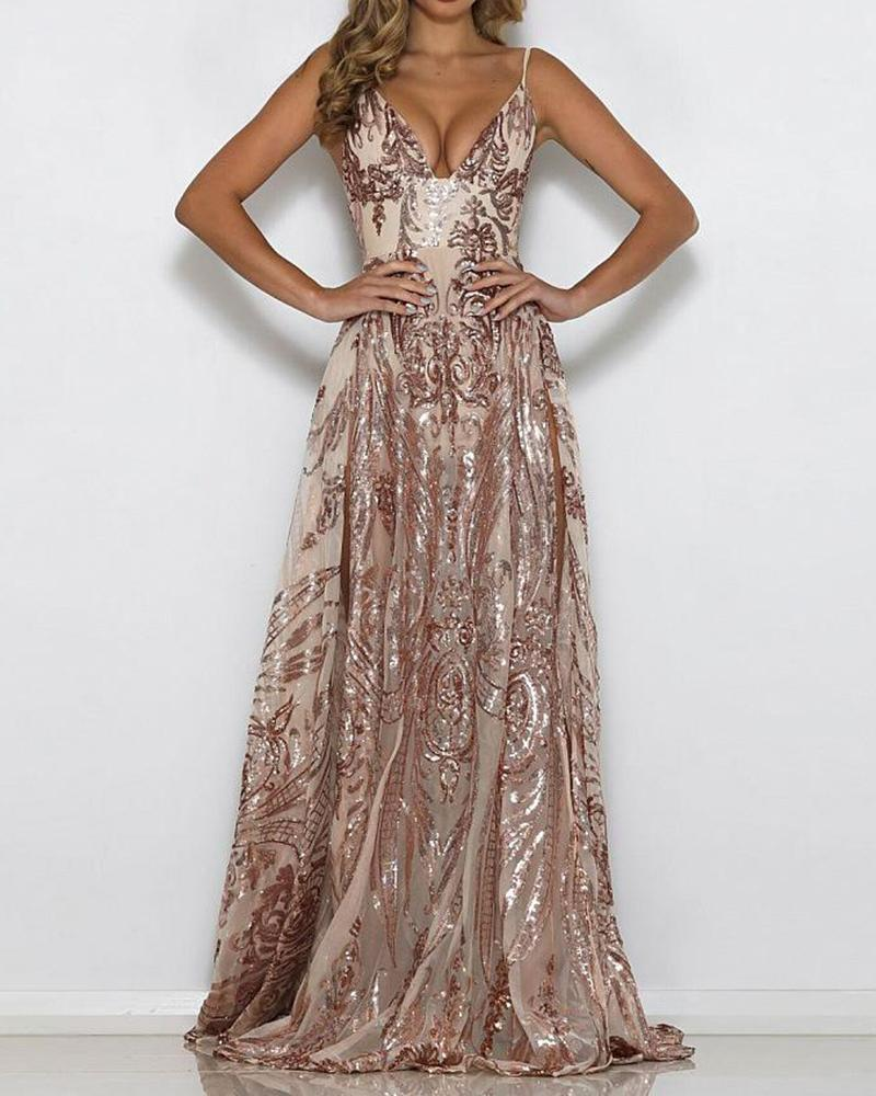 Deep V Sequined Maxi Slip Dress