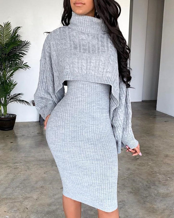 Solid High Neck Ribbed Sweater & Thin Strap Dress Sets