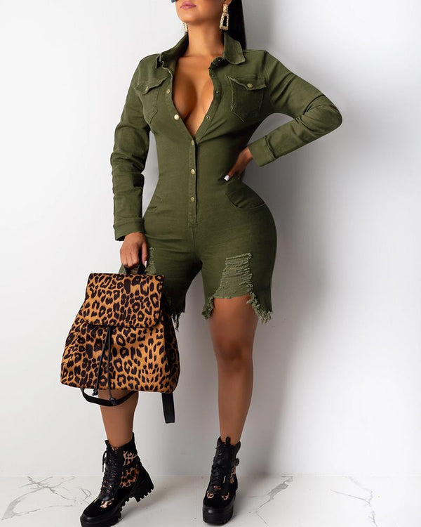 Solid Long Sleeve Buttoned Design Romper