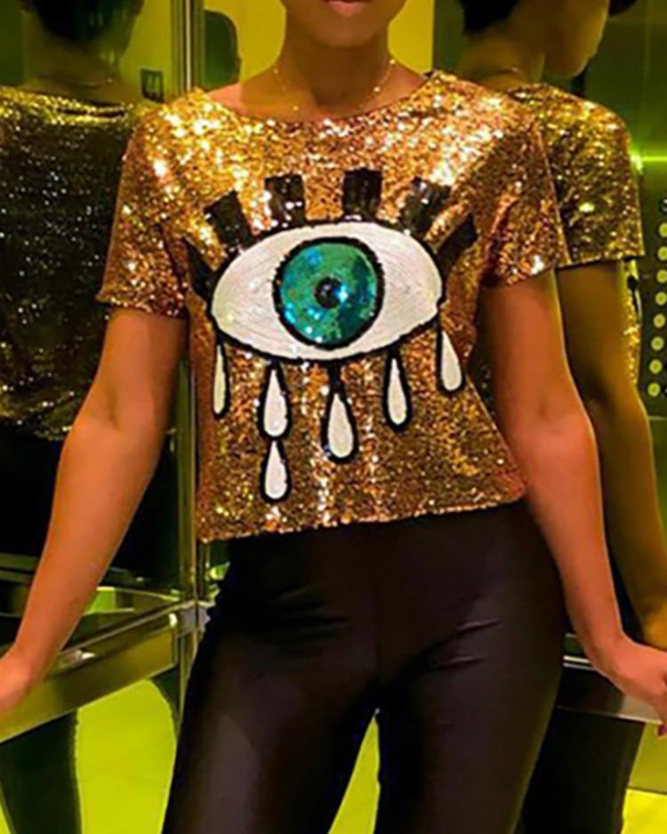 Contrast Eye Sequin Short Sleeve T-Shirt