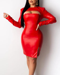 PU Cut Out Bodycon Dress
