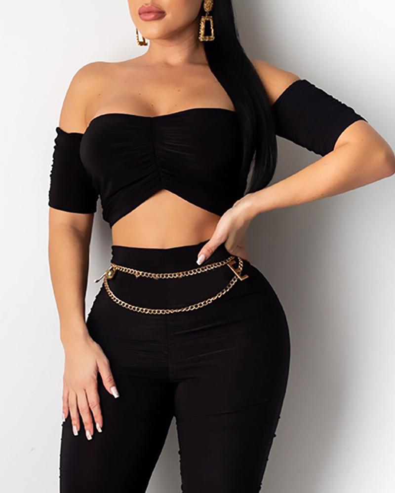 Solid Ruched Tube Crop Top & Pant Sets