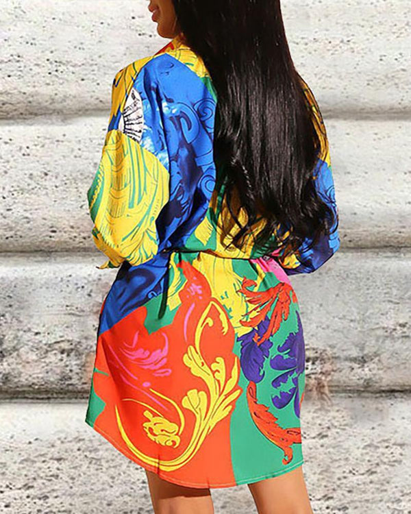 Colorful Print Long Sleeve Shirt Dress