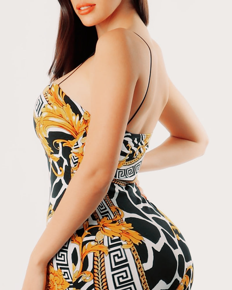 Spaghetti Strap Mixed Print Tube Slimming Dress