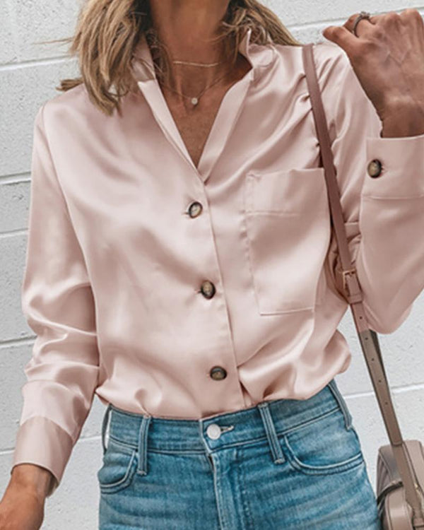 Solid Long Sleeve Buttoned Casual Shirt