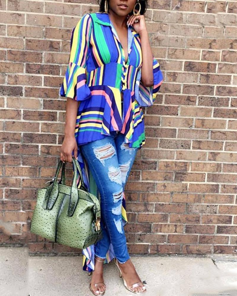 Colorful Striped Ruffles Dip Hem Blouse