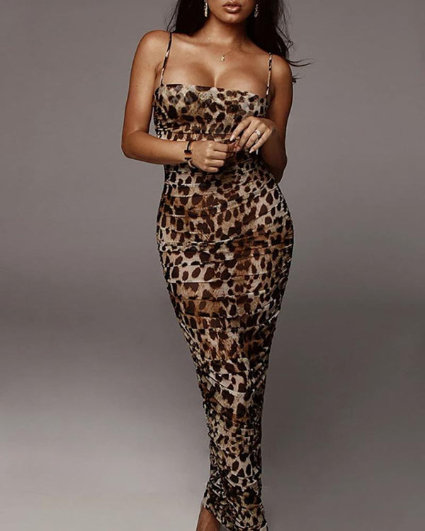 Leopard Print Spaghetti Strap Dress