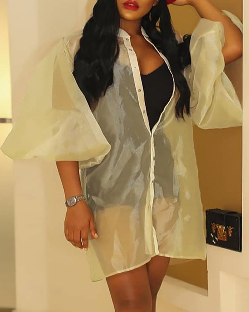Solid Organza Sheer Lantern Sleeve Coat