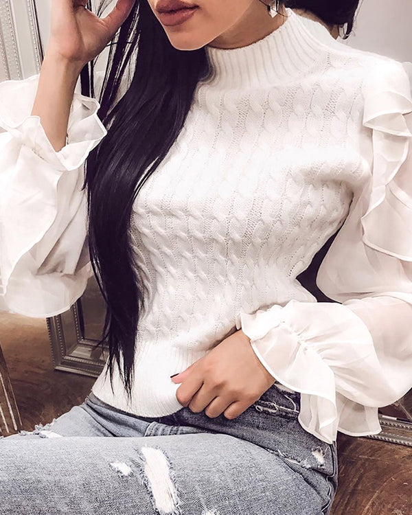 Solid Patchwork Mesh Ruffles Sleeve Casual Sweater