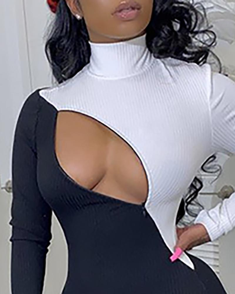 Colorblock Cutout Ribbed High Neck Jumpsuit