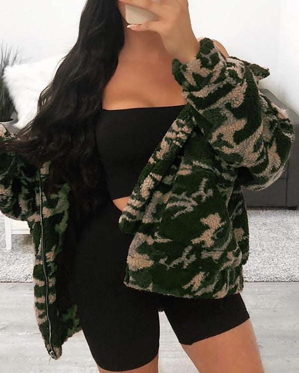 Turn-down Collar Camouflage Zipper Design Fluffy Coat