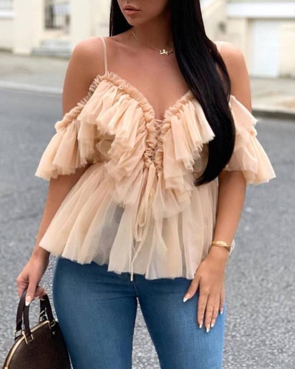 Cold Shoulder Layered Mesh Blouse