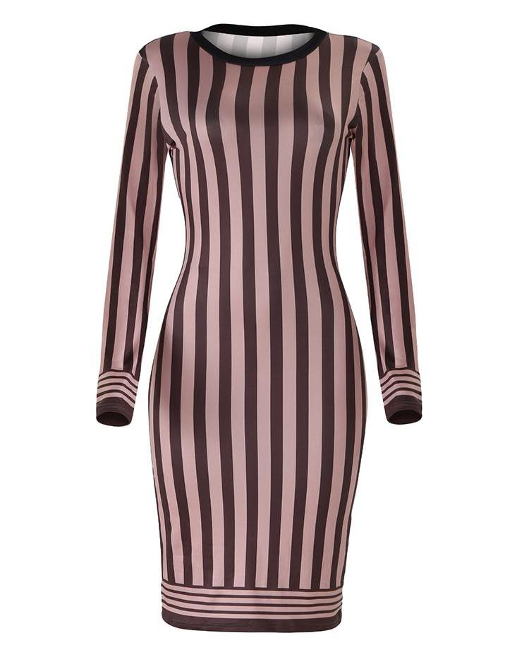 Long Sleeve Striped Bodycon Dress