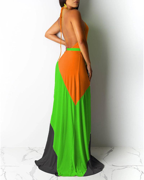 Halter Open Back Color Block Maxi Dress