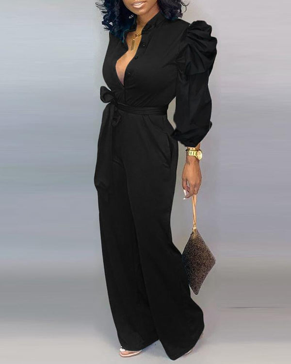 Solid Puffed Sleeve Plunge Jumpsuit