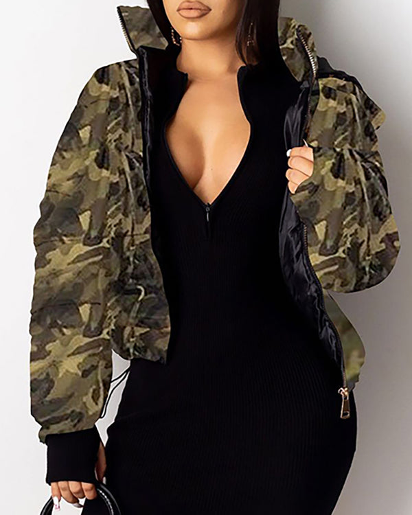 Hooded Leopard Camouflage Zipper Design Coat