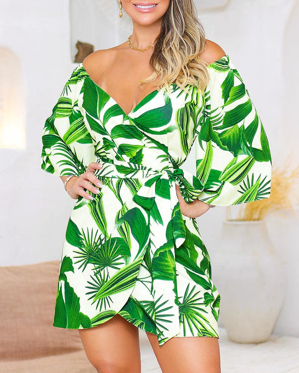 Off Shoulder Botanical Print Wrap Dress