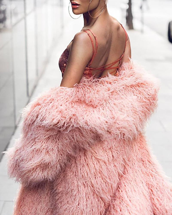 Solid Open Front Long Sleeve Longline Fluffy Coat