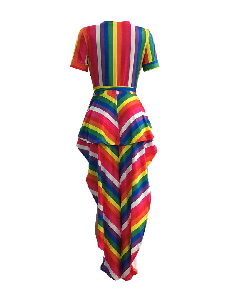 Contrast Color Rainbow Striped Dip Hem Top