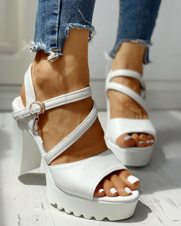Ankle Buckle Platform Chunky Heeled Sandals