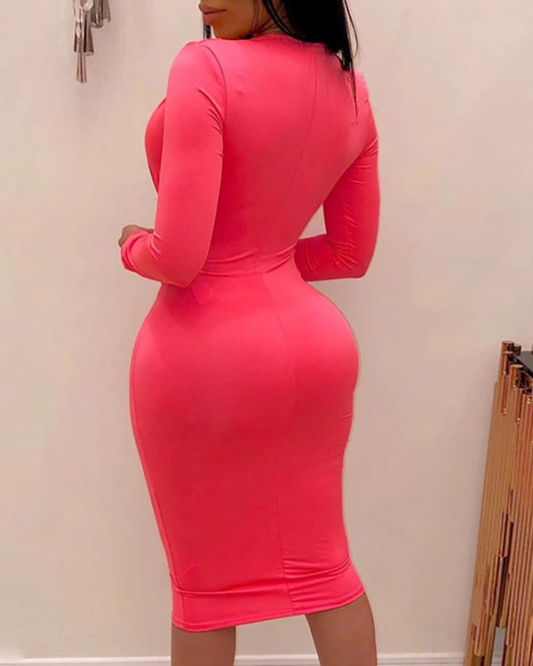Solid Plunge Tight Waist Midi Dress