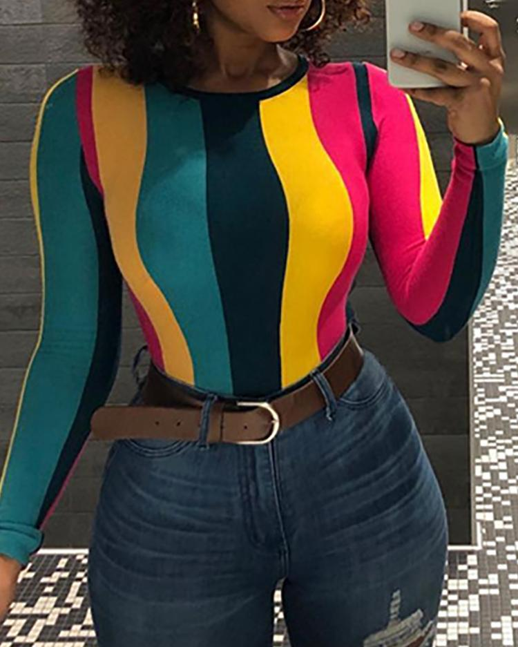 Colorful Stripes Long Sleeve T-Shirt