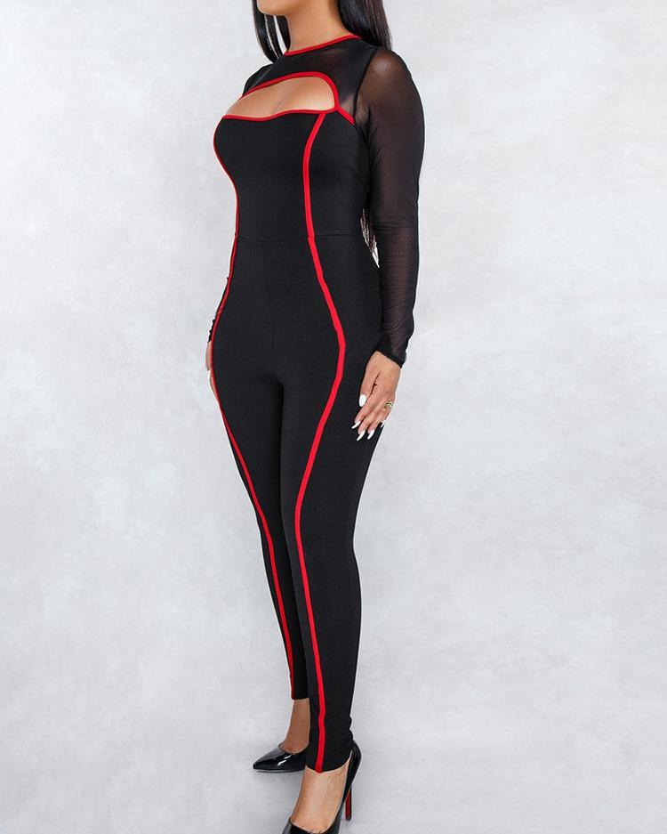 Mesh Insert Contrast Piping Cutout Jumpsuit