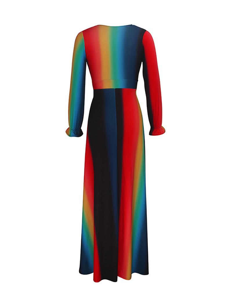Rainbow Striped Printed V Neck Dress