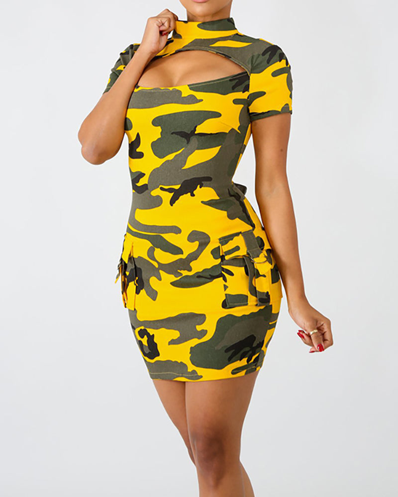 Camouflage Two Side Pocket Sexy Bodycon Dress