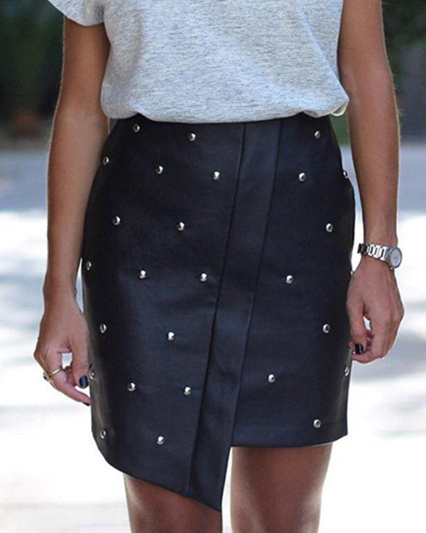Studded Asymmetric Faux Leather Mini Skirt