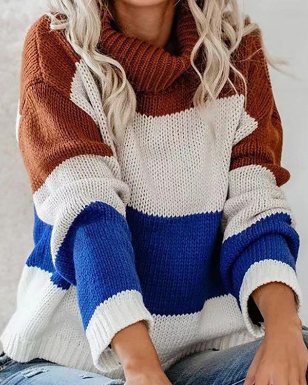 High Neck Colorblock Long Sleeve Knitting Sweater