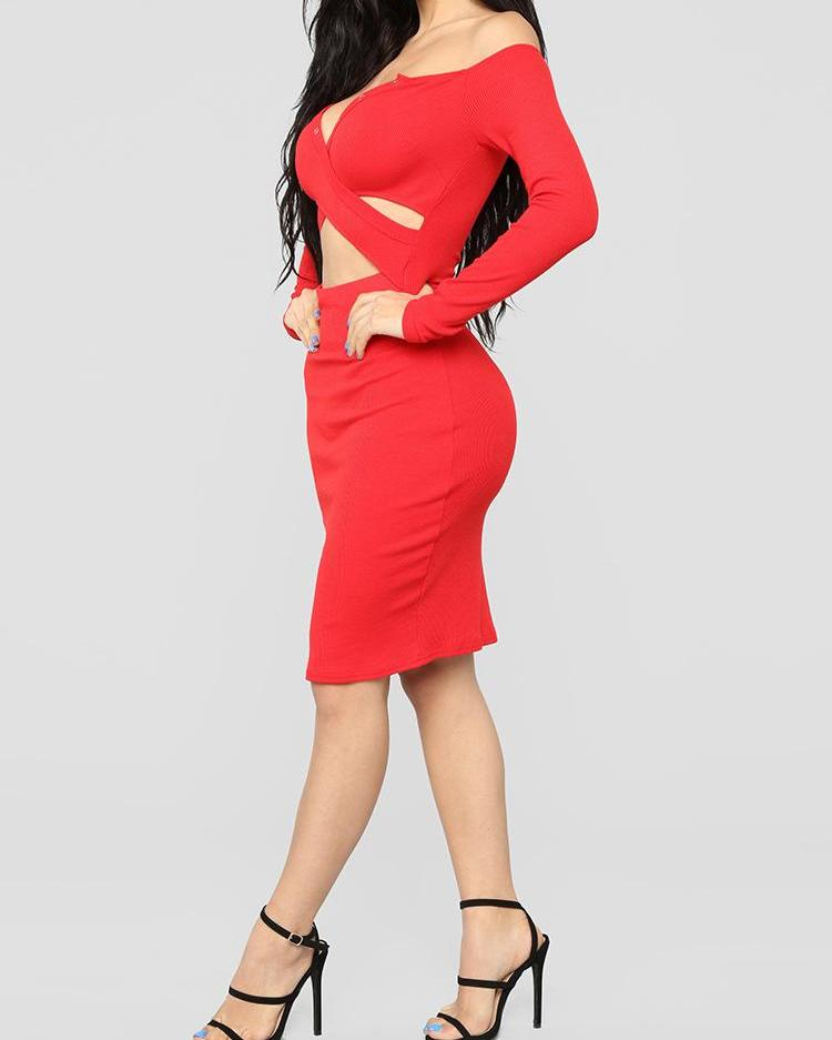Crisscross Cutout Bodycon Party Dress