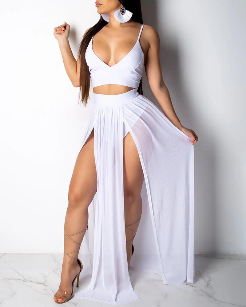 Solid Cami Top & Thigh Slit Skirt Sets