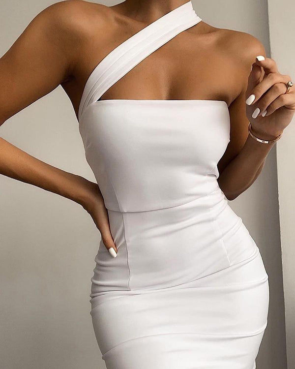 Solid One Shoulder Strap Bodycon Dress