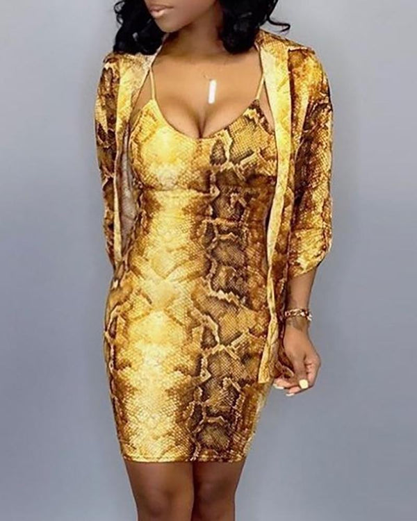 Snakeskin Coat & Spaghetti Strap Bodycon Dress Sets