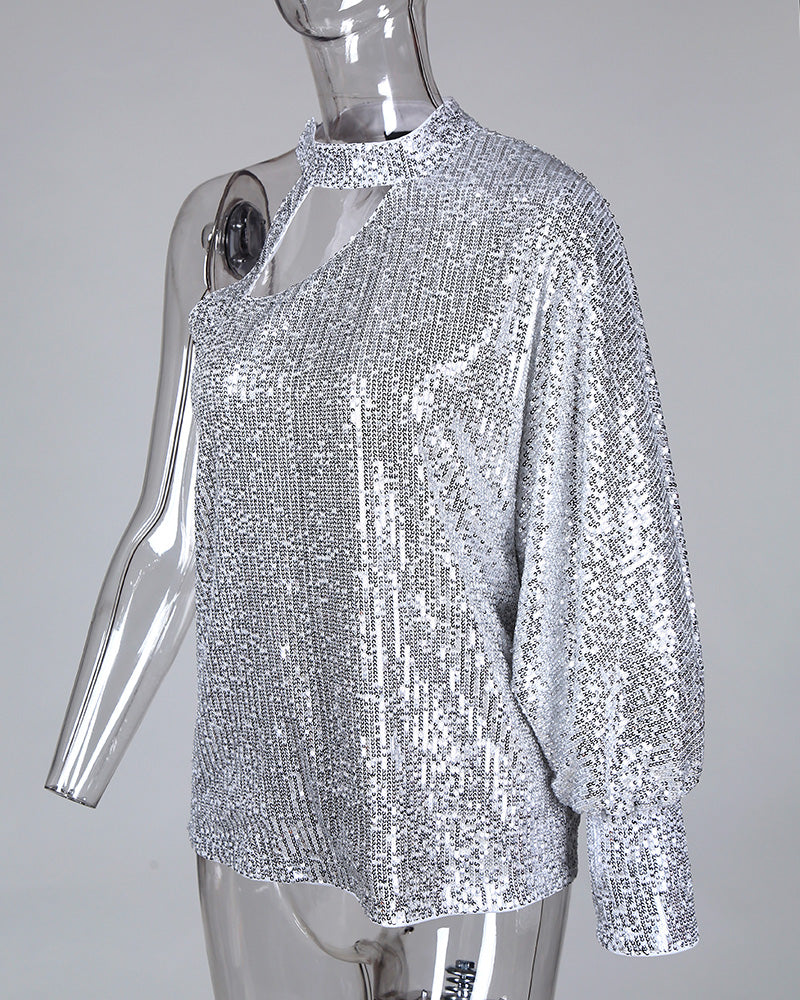 Glitter One Shoulder Cut Out Sequins Blouse