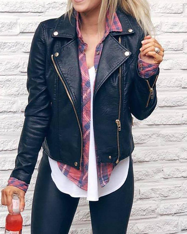 Trendy Metallic Zipper Design PU Jacket