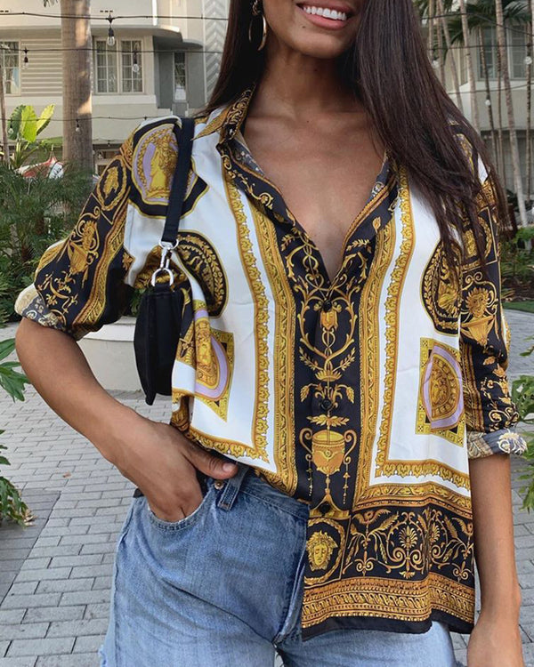Turn-down Collar Retro Print Buttoned Shirt