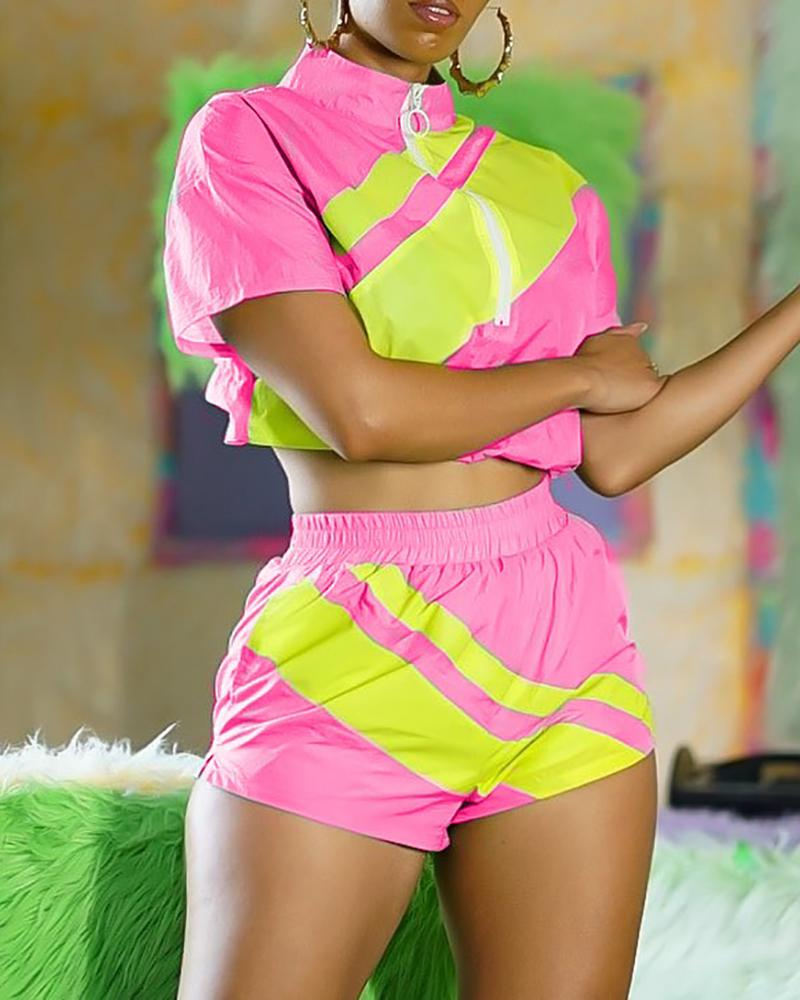 Short Sleeve PrintTank Top & High Waist Shorts