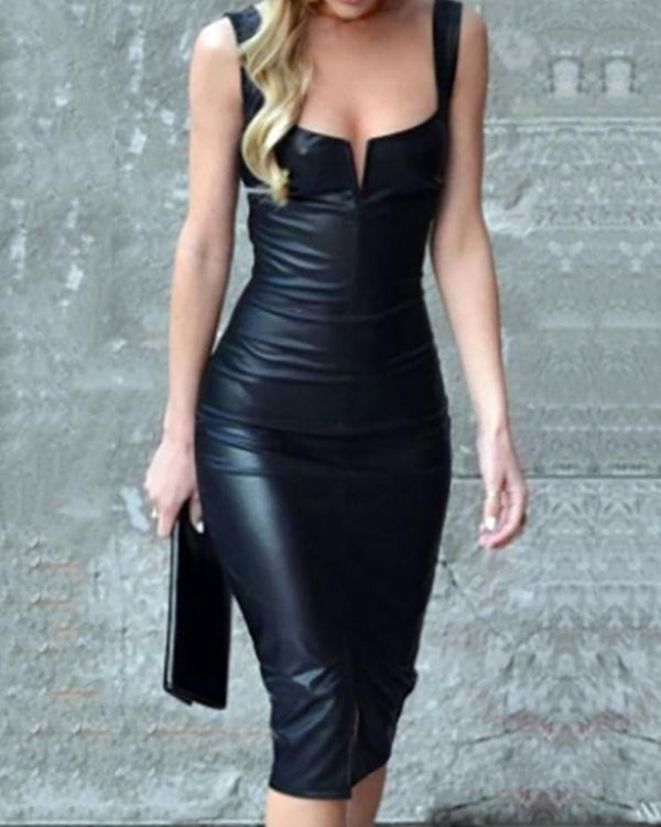 Spaghetti Strap Low Cut PU Bodycon Dress