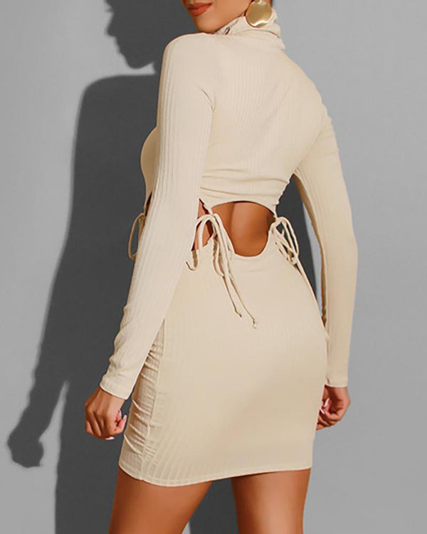 Solid Mock Neck Drawstring Ribbed  Crop Top & Skirt Sets