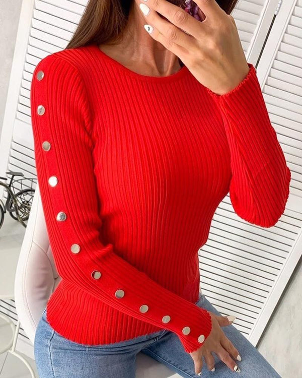 Solid Ribbed Round Neck Buttoned Detail Sweater