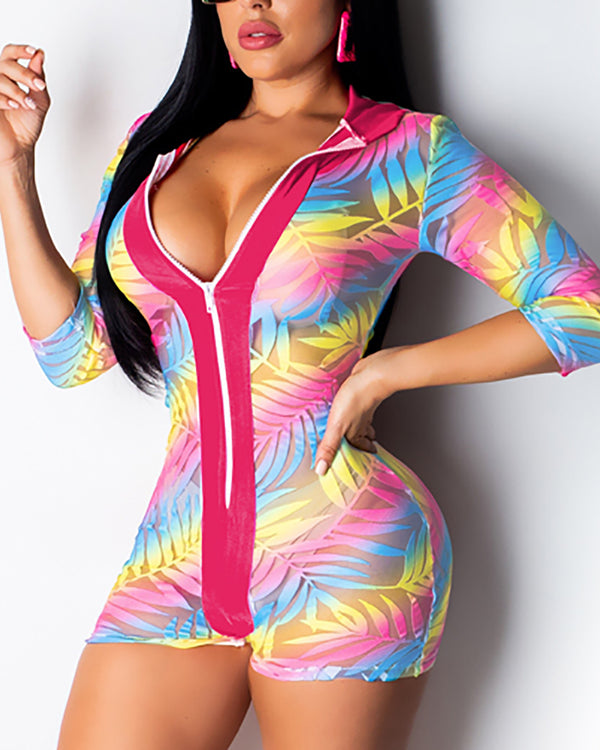 Colorful Hooded Sheer Mesh Zipper Romper