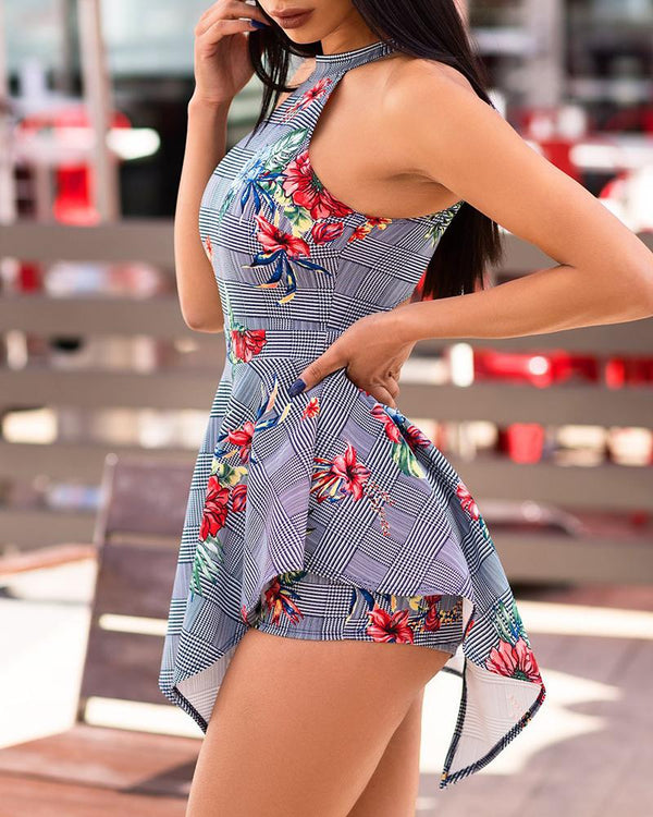 Off Shoulder Cut Out Backless Print Romper