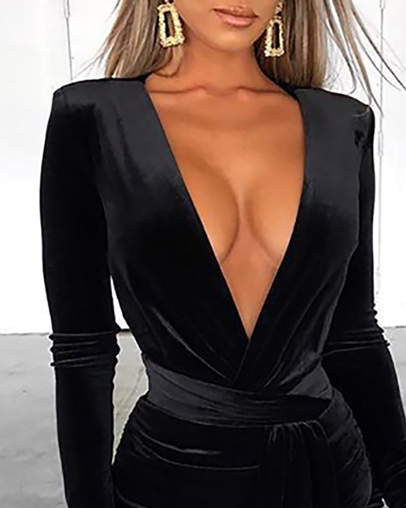 Solid Plunge Ruched Drape Irregular Dress