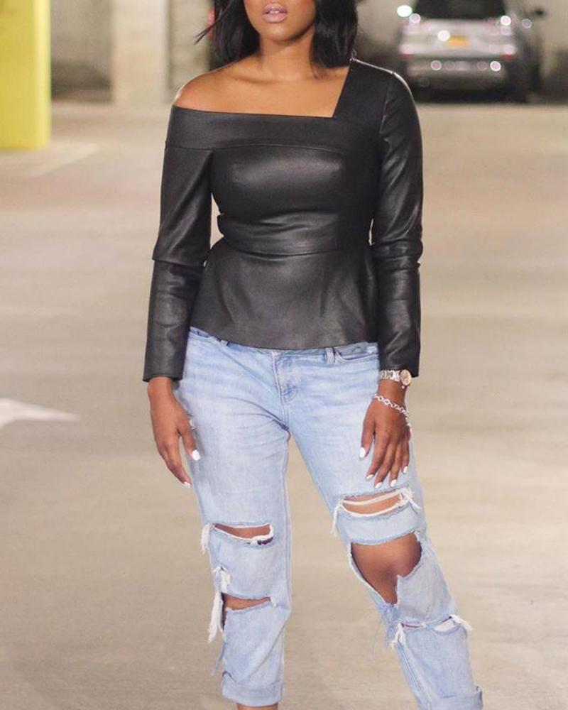 Faux Leather Cold Shoulder Top
