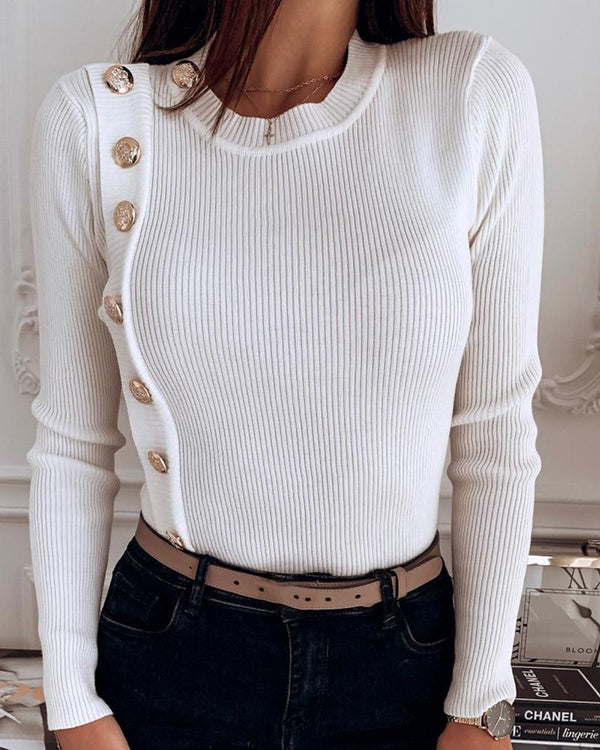 Round Neck Ribbed Long Sleeve Buttoned Casual Blouse