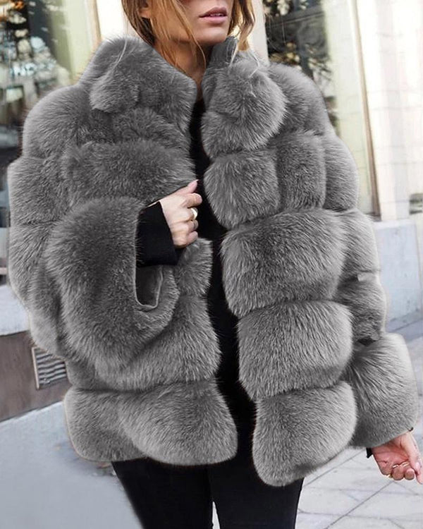 Solid Fluffy Longline Casual Coat
