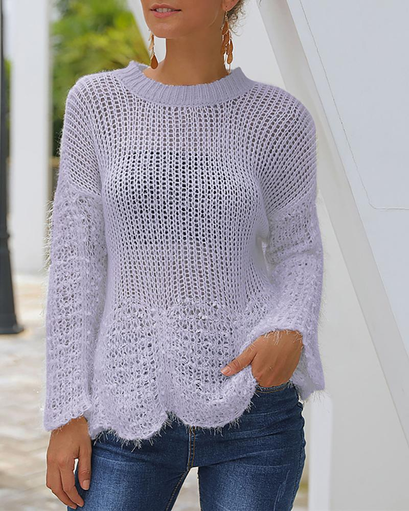 Solid Hollow Out See Through Hem Detail Sweater