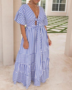 Striped knot Front Casual Dress